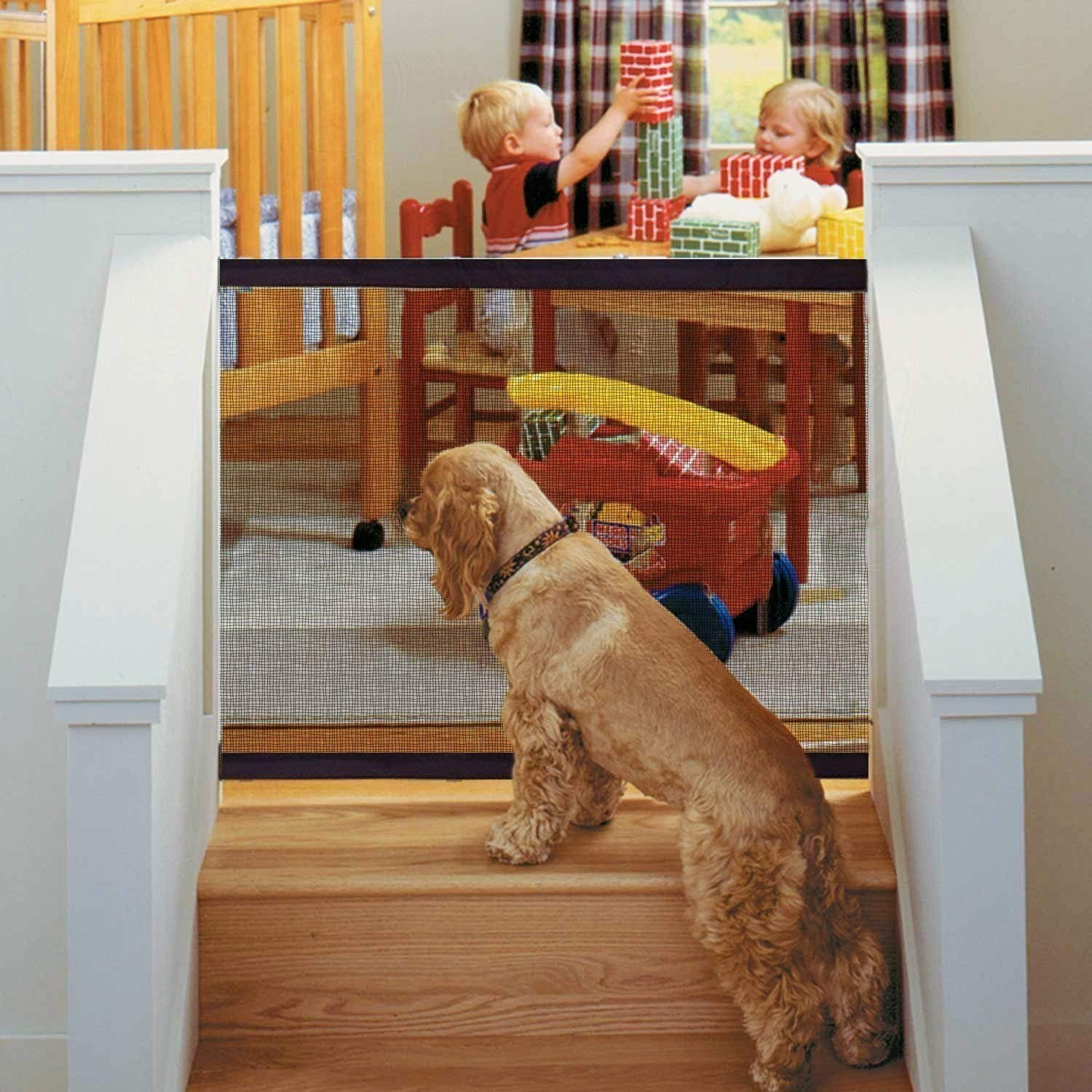 Magic Gate for Dogs - Portable Folding Mesh Screen Gate - for House Indoor Use - Dog Safe Guard Install Anywhere - As Seen On TV Infina