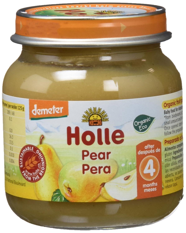 Holle Potito de Pera 100% (+4 meses) - Paquete de 6 x 125 gr - Total: 750 gr: Amazon.es: Alimentación y bebidas