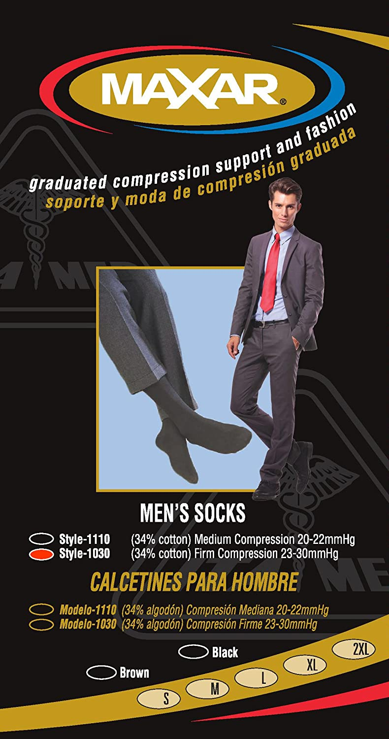 Amazon.com: Maxar H-1030 Mens Trouser Support Socks, Brown, Large, 3 Count: Health & Personal Care