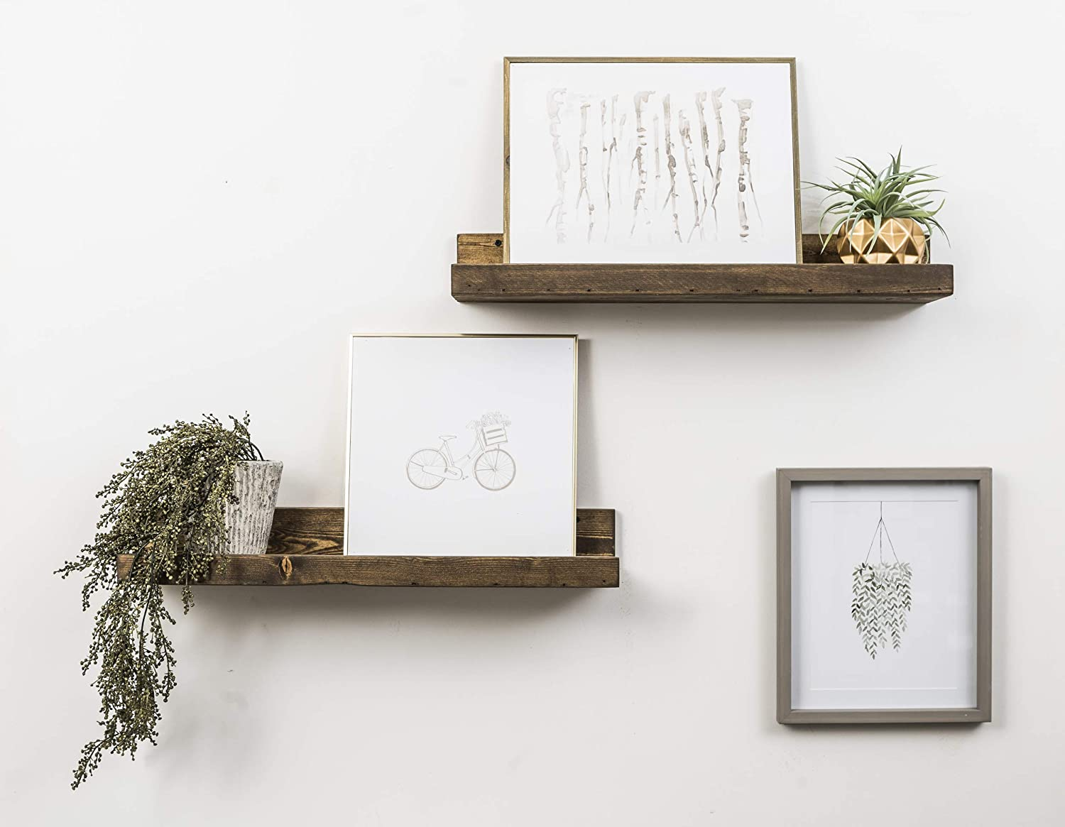Walnut 2 Pack del Hutson Designs Handmade 5H x 24W x 7D-Inch Rustic Luxe Floating Shelves