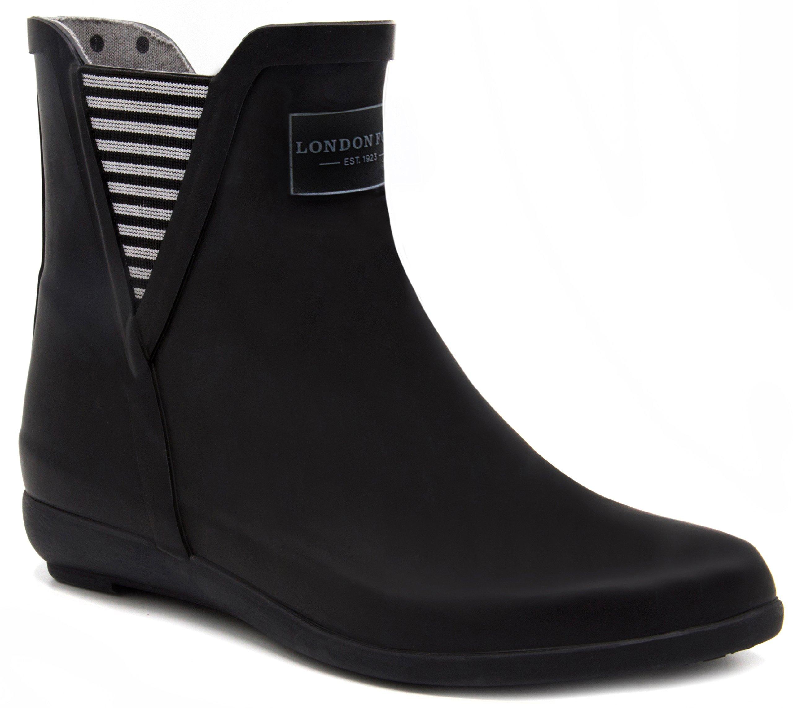 London Fog Womens Piccadilly Rain Boot Black 8 M US