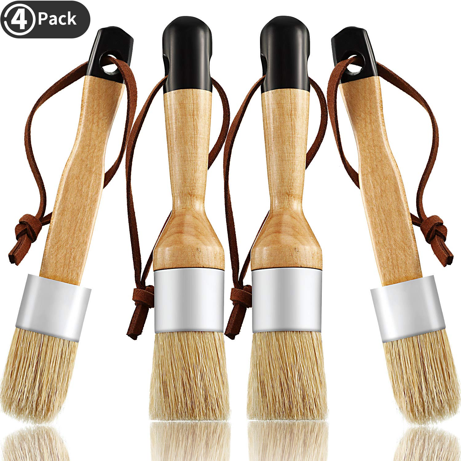 4 Pieces Chalk and Wax Brushes Include Flat and Round Chalked Paint Brush with Bristles, Multi-use Wax and Stencil Brushes for Chairs, Dressers, Cabinets and Other Wood Furniture by Boao
