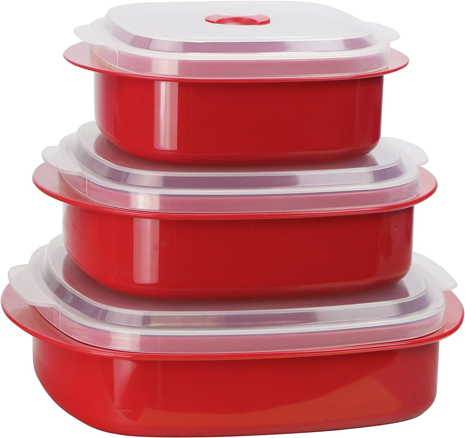Calypso Basics by Reston Lloyd 6-Piece Microwave Cookware, Steamer and Storage Set, Red