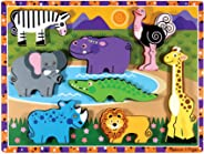 Melissa & Doug Safari Wooden Chunky Puzzle (Preschool, Chunky Wooden Pieces, Full-Color Pictures, 8 Pieces, Great Gift for G