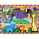 Melissa & Doug Safari Chunky Wooden Puzzle,Multicolor
