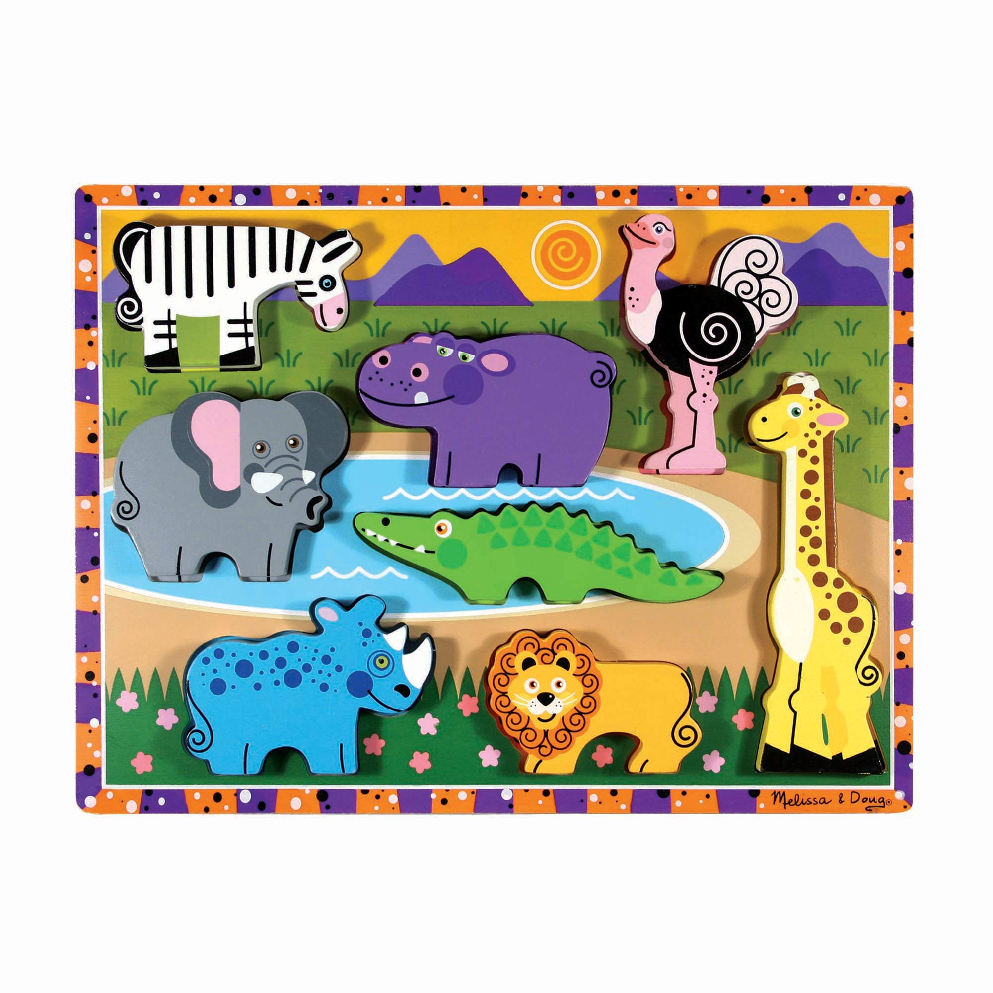 """Melissa & Doug Safari Wooden Chunky Puzzle, Preschool, Chunky Wooden Pieces, Full-Color Pictures, 8 Pieces, 1"""" H x 9"""" W x 12"""" L"""