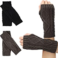 2 Pairs Knit Fingerless Gloves Hand Crochet Arm Warmers Thumb Hole Mittens