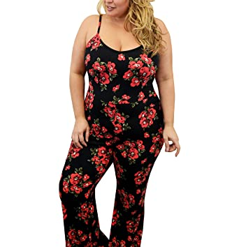 831bee668fb Amazon.com  Urban Rose Womens Plus-Size Jumpsuit – Bodycon with Floral  Design   Flare Pant  Clothing