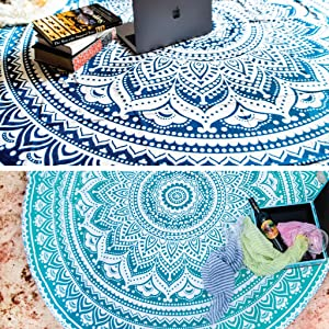 Set of 2 Ombre Mandala Tapestry or Round Beach Blanket Hippie Indian Bohemian Picnic Table Cover Spread or Boho Gypsy Tablecloth or Circle Yoga Mat or Towel for Meditation - 72 Inches, Blue and Green