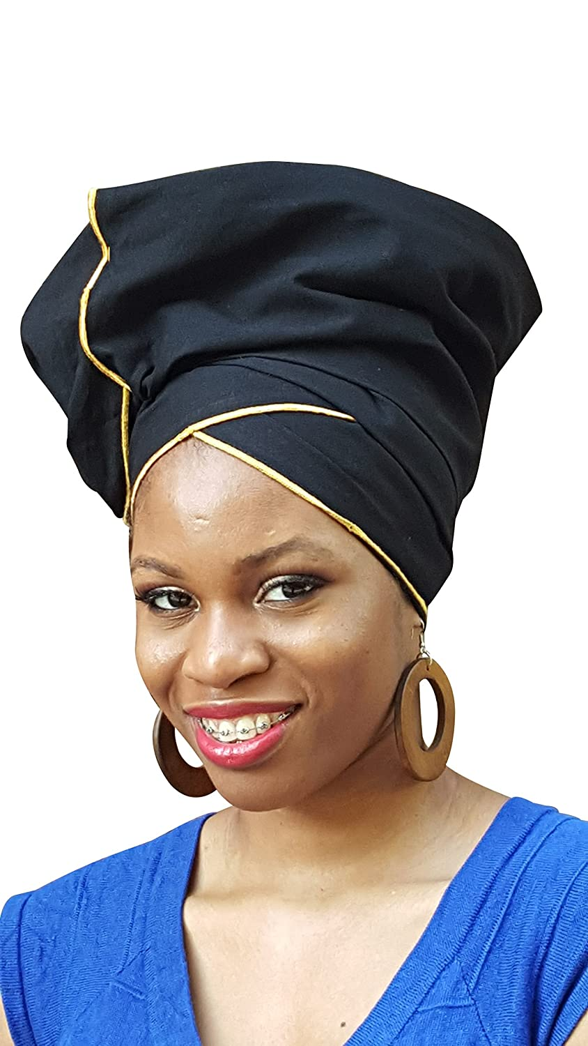 Dupsie's Black Cotton African Head Wrap with Gold Trim One Size DP3776H