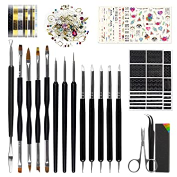 Nail Art Tools Fashion Design - 8 Size Painting Brushes, 5 Carving/Dotting Pen, 12 Style Decals/Stencils, Striping Tapes, Irregular 3D Rhinestones, Manicure Sponge(Peeler, Scissors & Nippers Included)