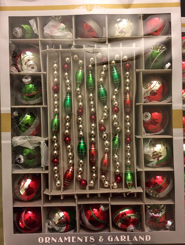 Christmas ornament display case - Amazon Com Christopher Radko Shiny Brite Ornaments And Garland Set Home Kitchen