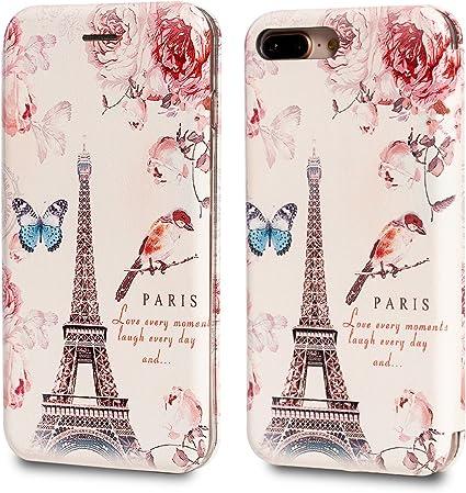 iPhone 7 Plus/iPhone 8 Plus Coque, Rossy fin Folio Motif Livre magnétique Flip PU Cuir Portefeuille Housse Coque de protection avec emplacement pour ...