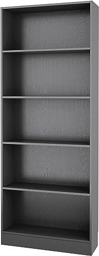 Tvilum Element Wide 5 Shelf Bookcase, Tall, Black Wood Grain