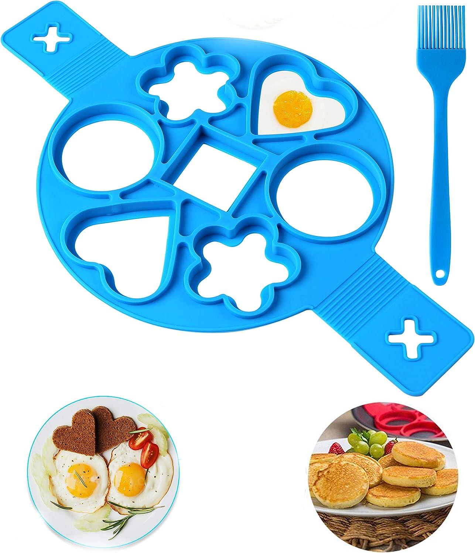 Pancake make Pancake mold Silicone,New Upgrade 7 Cavity Nonstick Pancake Mold Maker,flip cooker (blue)