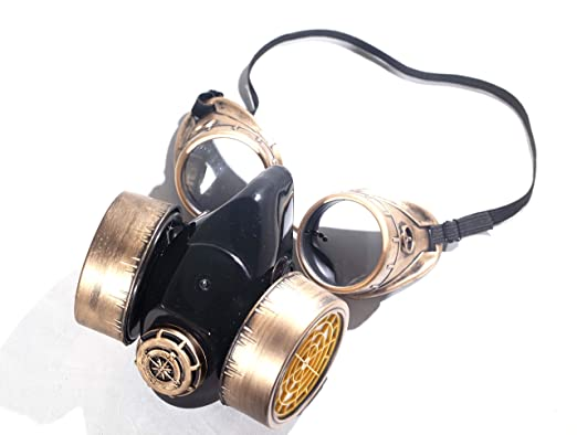 amazoncom steampunk goggles dust mask cosplay burning man cyber punk geek festival accessories halloween costume birthday gift idea clothing