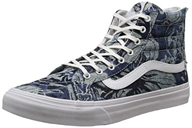 46e9b6944eaf6a Vans Unisex Indigo Tropical SK8-Hi Slim Zip Blue True White Sneaker - 6.5