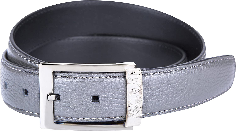 Versace Collection Mens Grained Leather Medusa Logo Buckle Belt