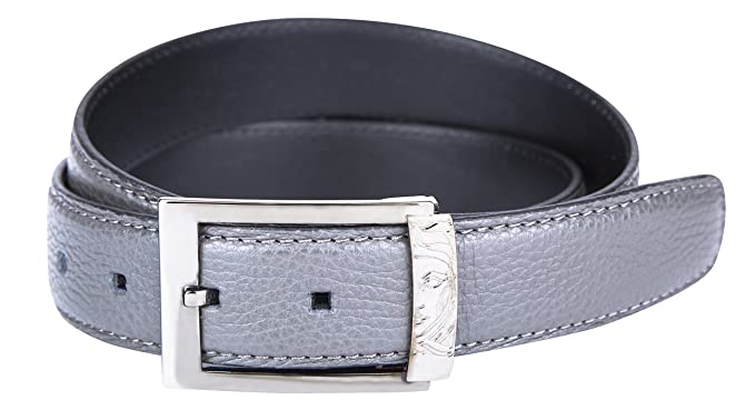 Versace Collection Men s Gray Grained Leather Half Medusa Buckle Belt  V910129 ... b05a13d76f2