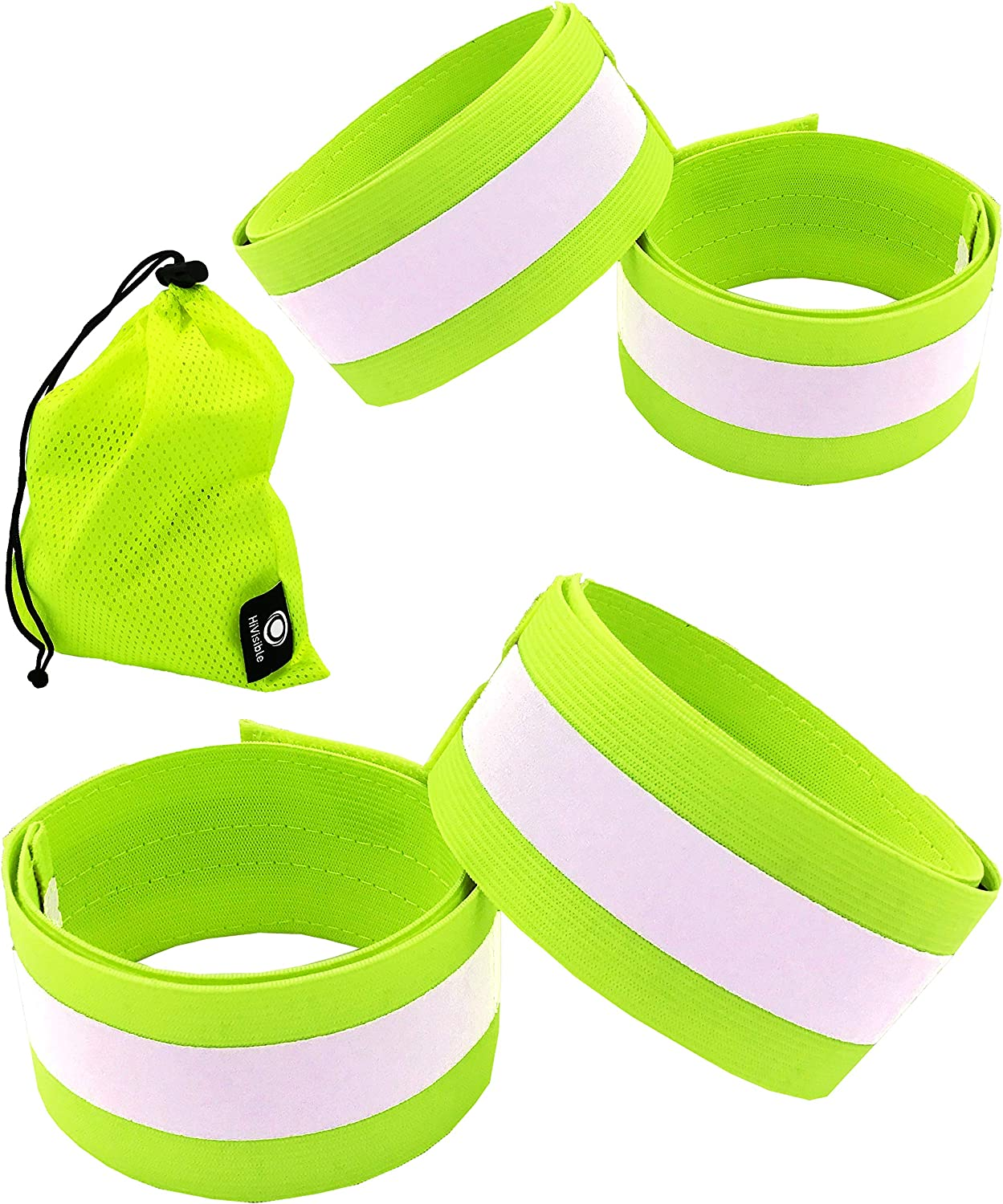 Reflective Bands for Arm, Wrist, Ankle, Leg. Reflector Bands. High Visibility Reflective Running Gear for Women and Men Cycling Walking Bike Safety Tape Straps - Bicycle Pants Clip, Cuff : Sports & Outdoors