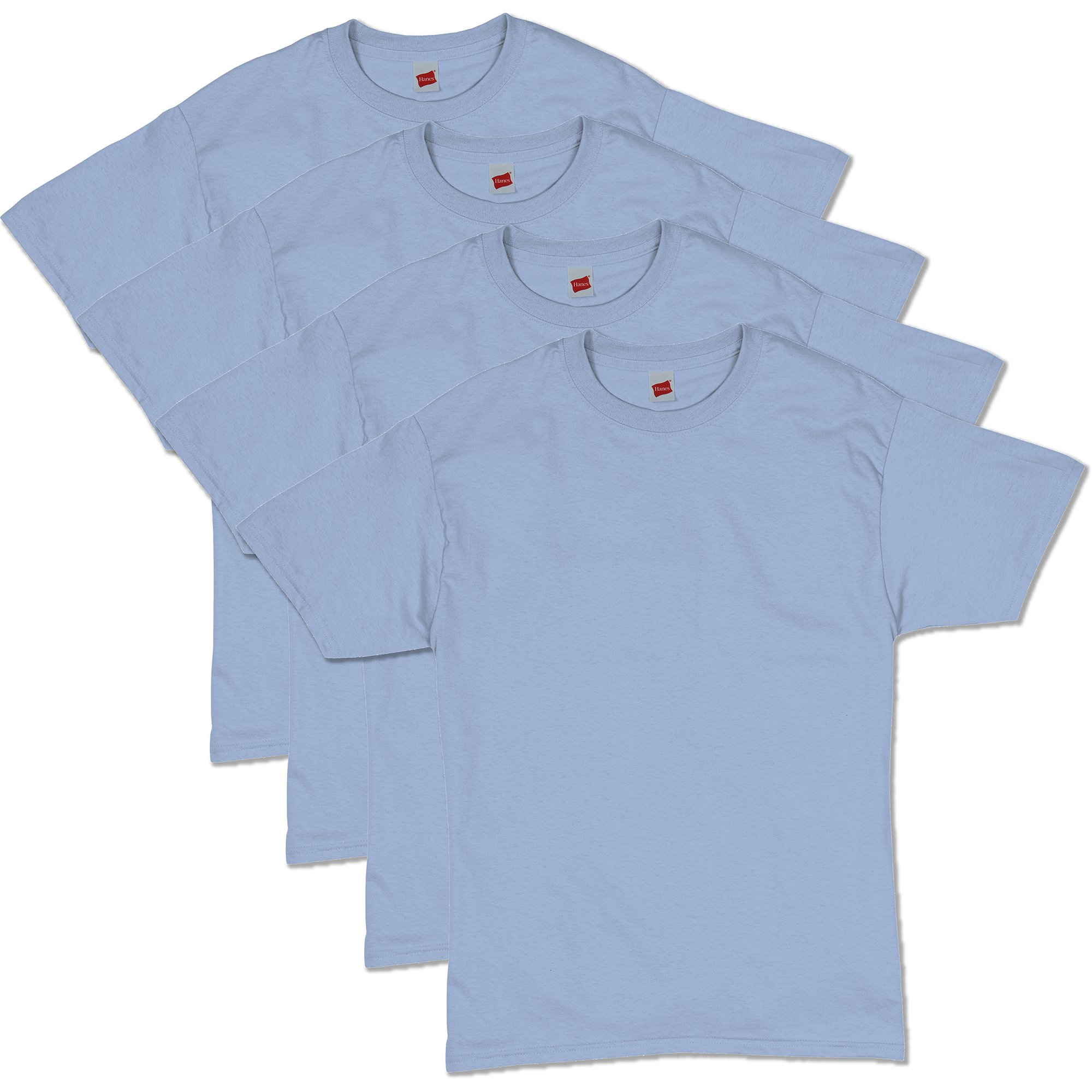Hanes Men's Comfortsoft T-Shirt (Pack Of 4),Light Blue,Large by Hanes