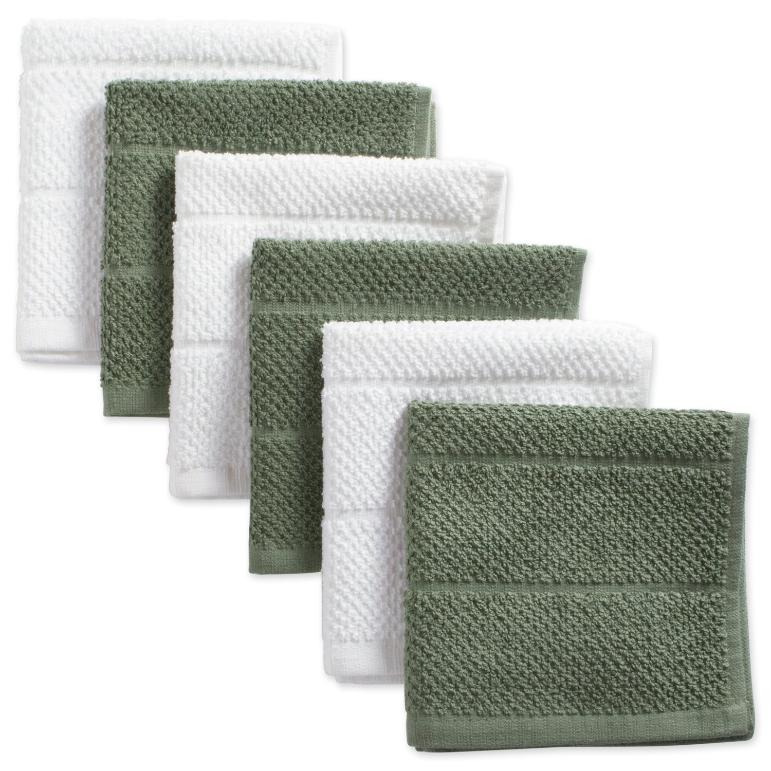 """DII Cotton Luxury Chef Terry Dish Cloths, 12 x 12"""" Set of 6, Ultra-Absorbent Cleaning Drying Kitchen Towels-Artichoke Green/White"""