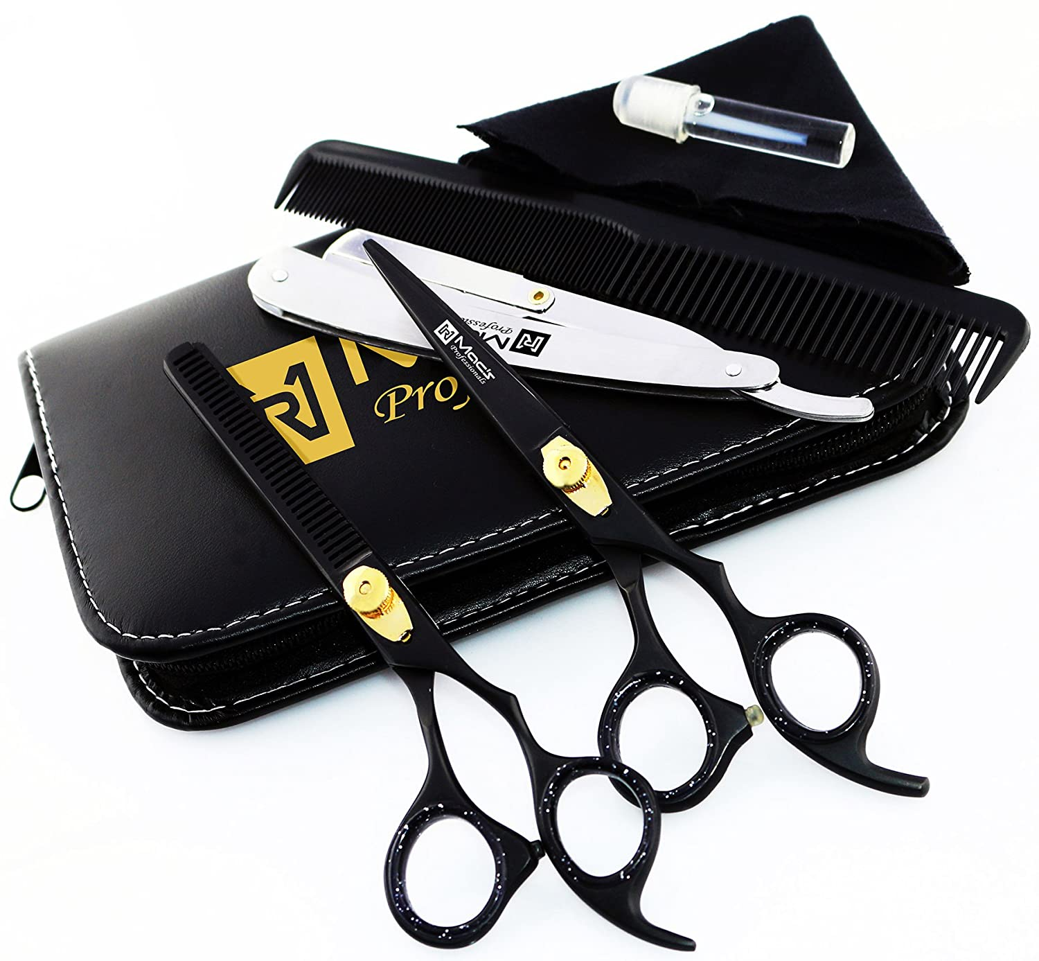 """Macs Professional Black & Gold Plated Beauty full Double Tone Combination Razors Edge Barber Hair Cutting Scissor/Shear Set Made Of 440 Japanese Stainless Steel 6.5"""" -15043"""