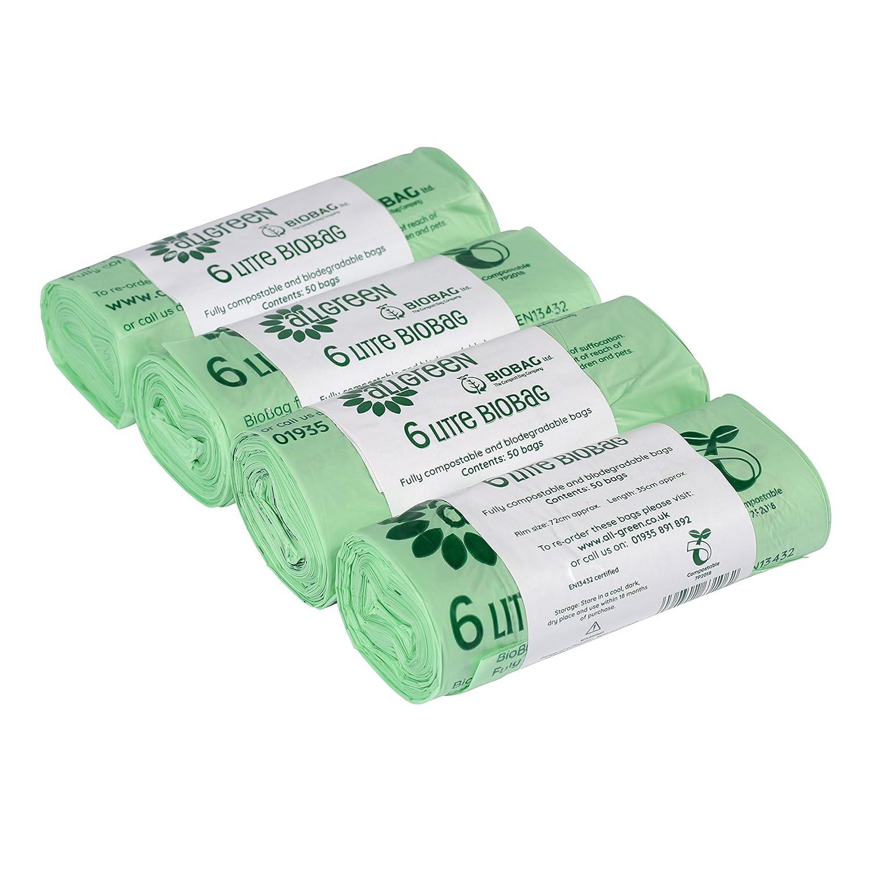 All-Green Sacchetti compostabili BioBag 6 litri per pattumiere da Cucina Caddy, 200 Sacchetti VC 6L-4