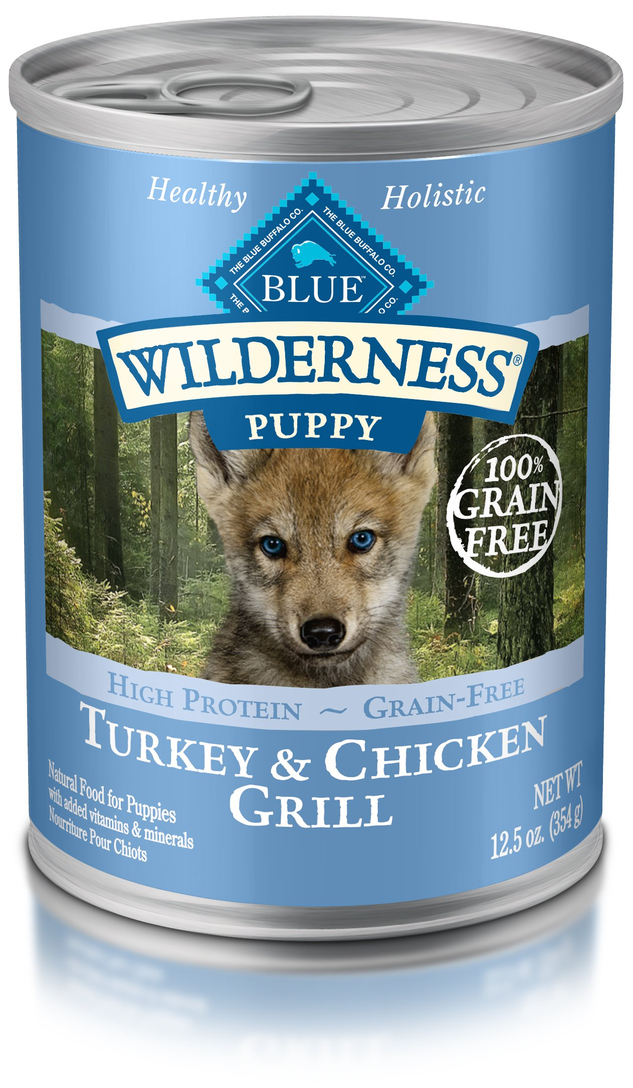 Blue Buffalo Wilderness High Protein Grain Free, Natural Puppy Wet Dog Food, Turkey & Chicken Grill 12.5-Oz Can (Pack Of 12) by Blue Buffalo