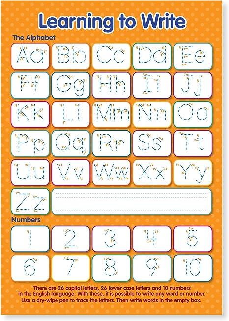 Gráfico de pared educativo para aprender a escribir letras y números, tamaño A3, laminado: Amazon.es: Oficina y papelería