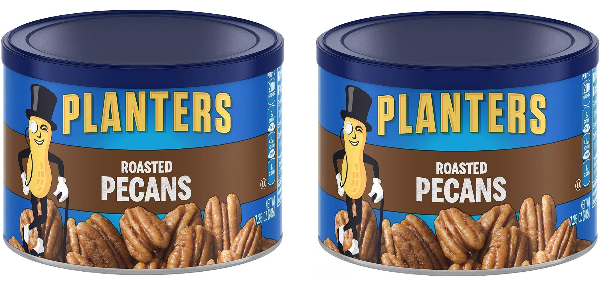 Planters Pecans, Roasted and Salted, 7.25 Ounce Canister, 2 Tubs