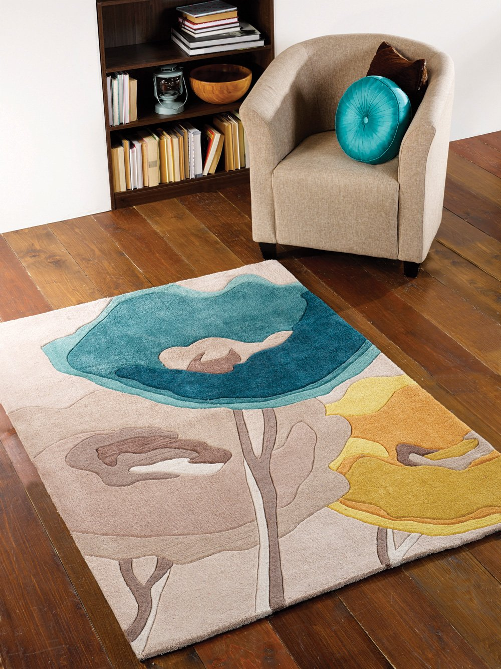 Quality Contemporary Flower Design Teal Yellow Area Rug In 80 X 150