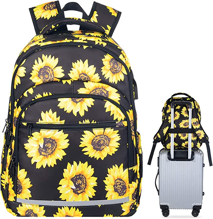 Amazon.com: Travel Laptop Backpack, Durable Waterproof Sunflower College School Backpack with USB Charging Port for Women Girl Casual Daypack Business Computer Bag Fits 15 Inch Notebook: Clothing