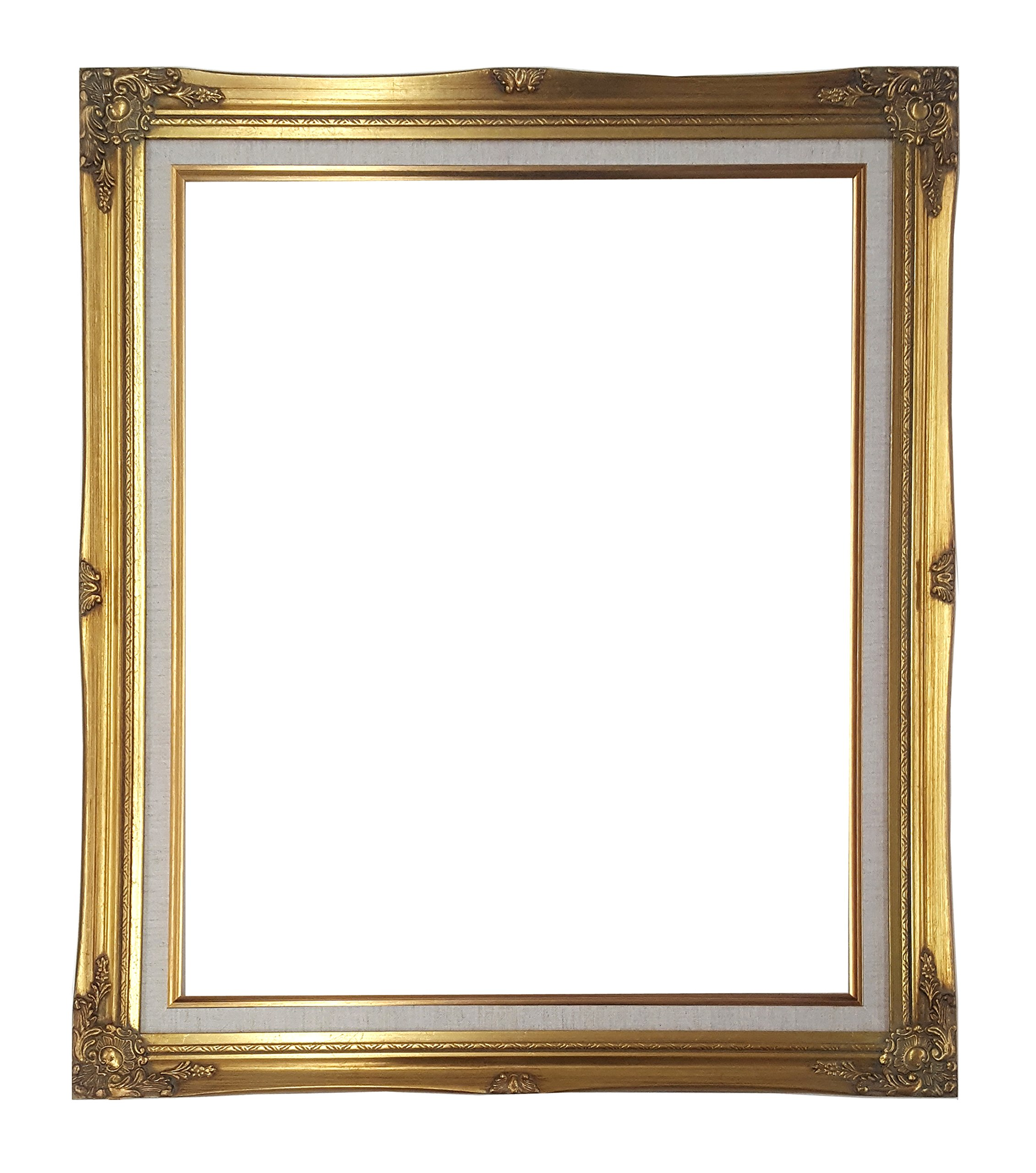 Ornate Baroque Gold Painted Wooden Frame with Cream Linen Liner Shabby Chic Picture Frame (20x24 w/ glass+back)