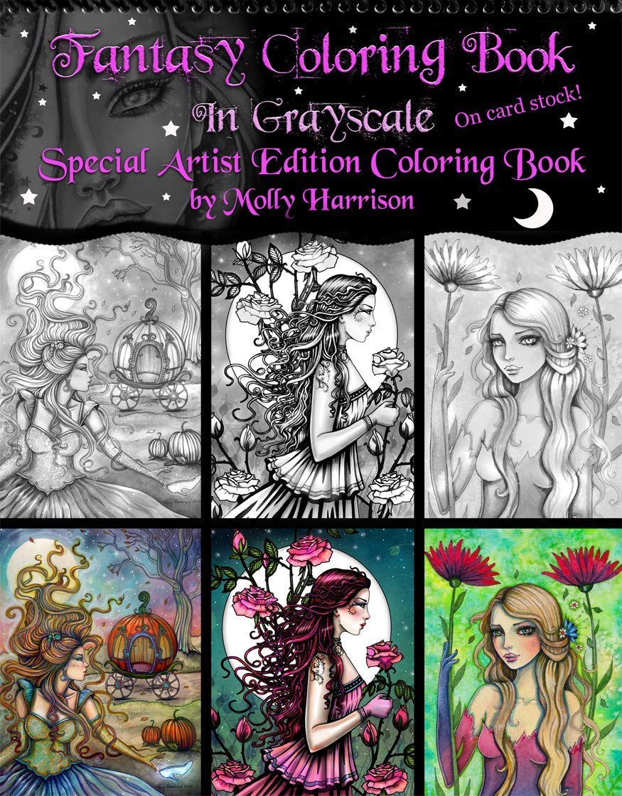 Fantasy Fairy Coloring Book In Grayscale Spiral Bound Special Artist Edition Fantasy Fairy Adult Coloring Book On Cardstock By Molly Harrison