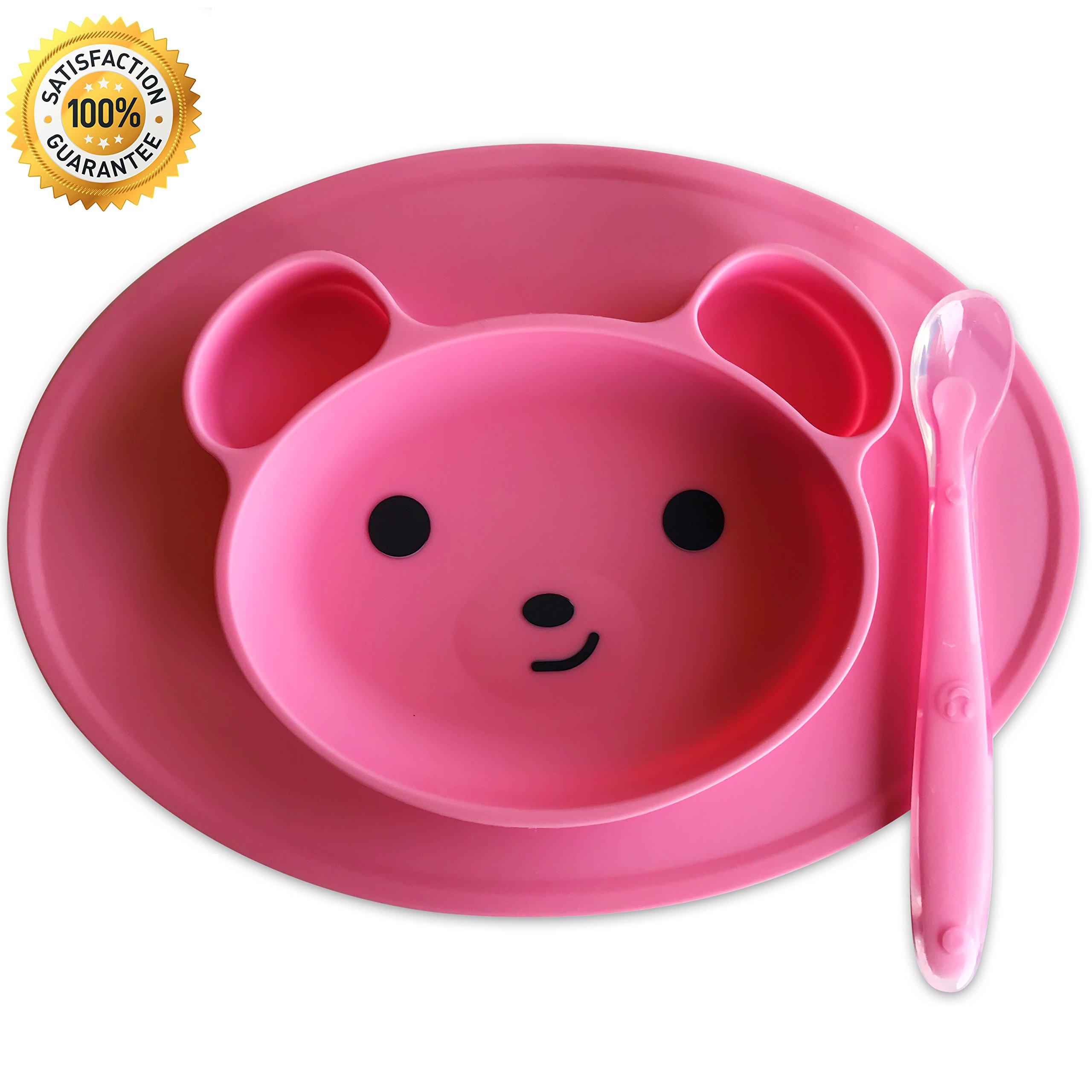 Silicone Baby Placemat [Happy Bear] Silicone Placemat For Toddlers Plus 1 Baby Spoon by Magnetor Plus (Pink)