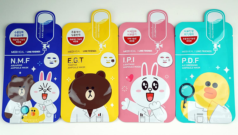 Mediheal Collagen Impact Essential Maske 4 Bltter Korean Hautpflege Line Friends Ampoule Mask Kosmetik Bekleidung