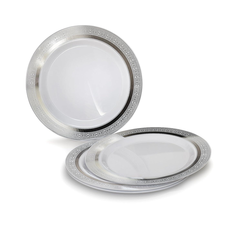 Occasions 使い捨てプラスチック皿 120パック 厚手 結婚パーティー用 Cake / Bread Plate ホワイト 43207-4011 B06XNVT2ZZ Cake / Bread Plate Palace White / Silver Palace White / Silver Cake / Bread Plate