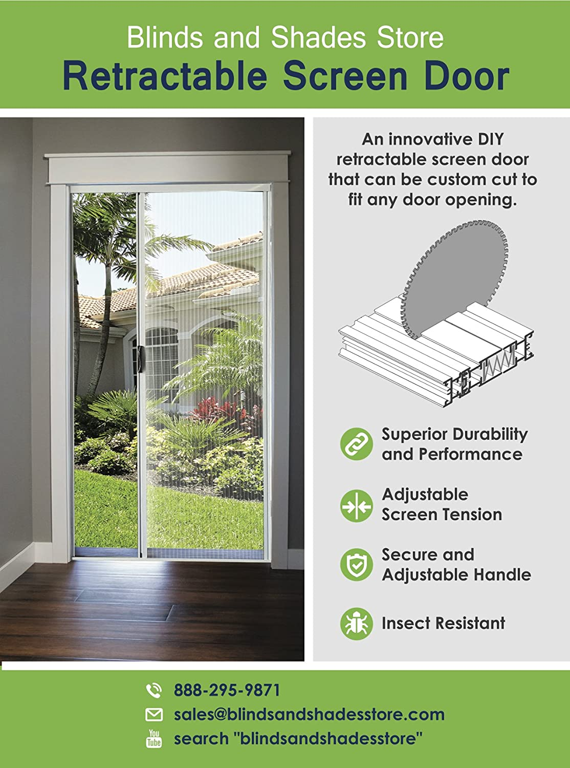 Blinds And Shades Store Diy Retractable Screen Door 33 37 X 91
