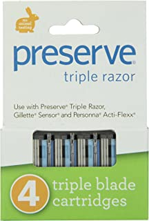 product image for Preserve Triple Razor Blades, 24 cartridges (4 razors in each box, 6 boxes total), Packaging may vary