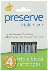 Preserve Triple Razor Blades, 24 cartridges (4 razors in each box, 6 boxes total), Packaging may vary