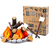 HUNIIHOME Pretend Campfire for Kids - Sensory Play Camping Toy Set with Plush Felt Fake Fire, Logs and Stones with Fake…