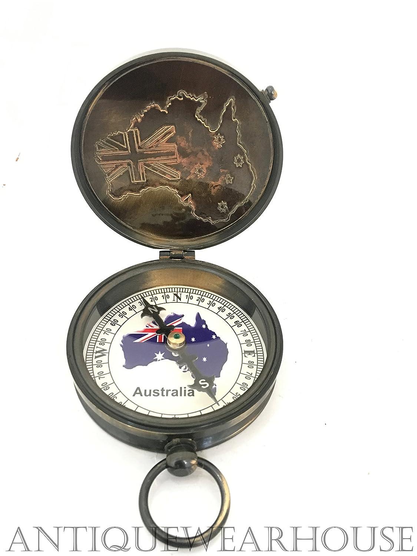 オーストラリアPenny真鍮コンパスハンドメイド国旗ヴィンテージナビゲーションコンパス B073Y3FQZ7