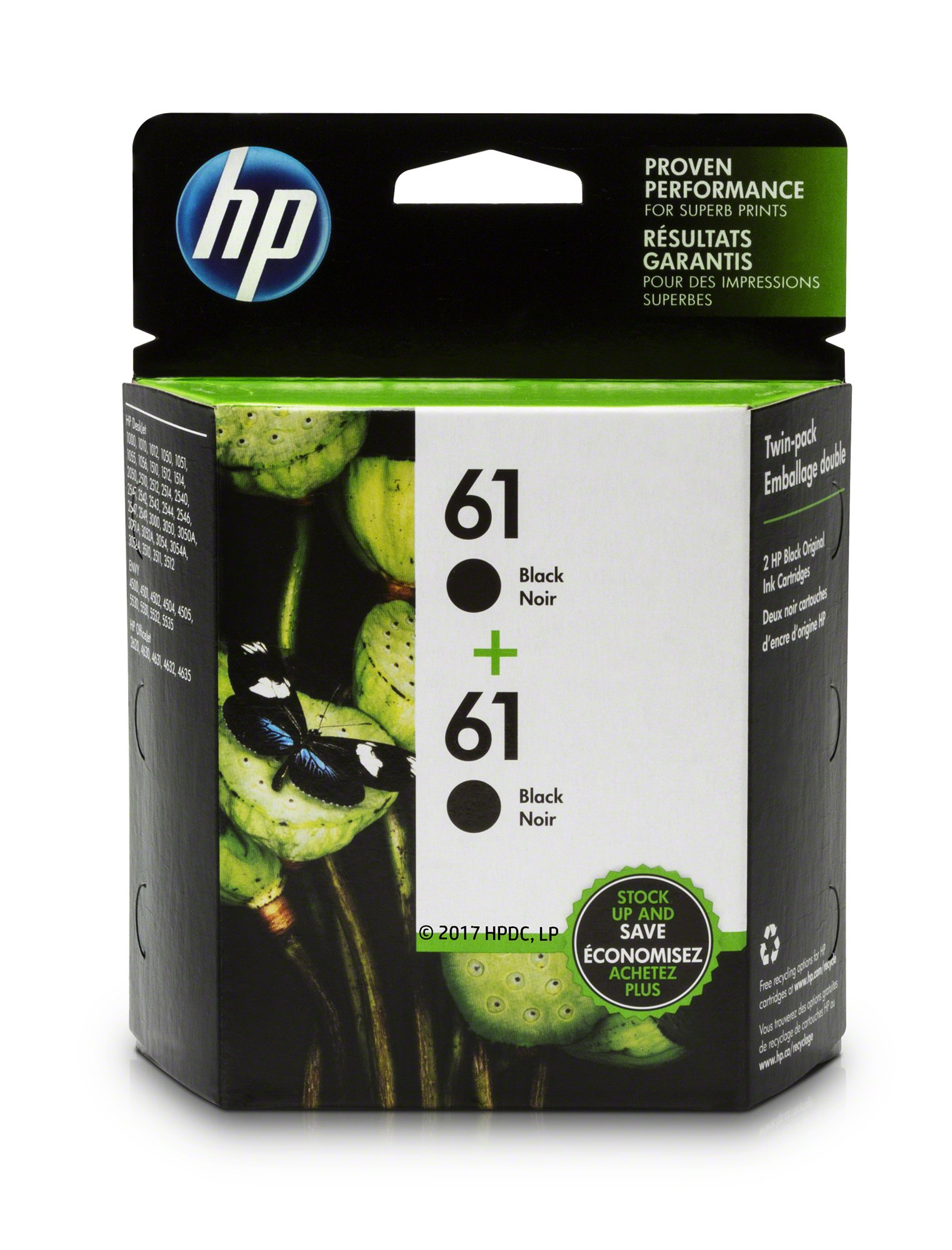HP 61 Black Ink Cartridge (CH561WN), 2 Ink Cartridges (CZ073FN) for HP Deskjet 1000 1010 1012 1050 1051 1055 1056 1510 1512 1514 1051 2050 2510 2512 2514 2540 2541 2542 2543 2544 2546 2547 3000 3050 3051 3052 3054 3056 3510 3511 3512HP ENVY 4500 4502 4504