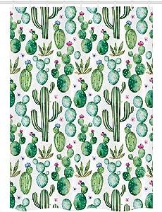 Ambesonne Green Stall Shower Curtain, Mexican Texas Cactus Plants Spikes Cartoon Like Print, Fabric Bathroom Decor Set with Hooks, 54