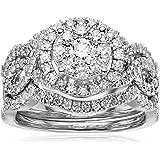 14k White Gold Diamond 3-Piece Wedding Ring Set (1 1/4 cttw, H-I Color, I1-I2 Clarity), Size 7