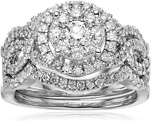 Amazon Com 14k White Gold Diamond 3 Piece Wedding Ring Set 1 1 4