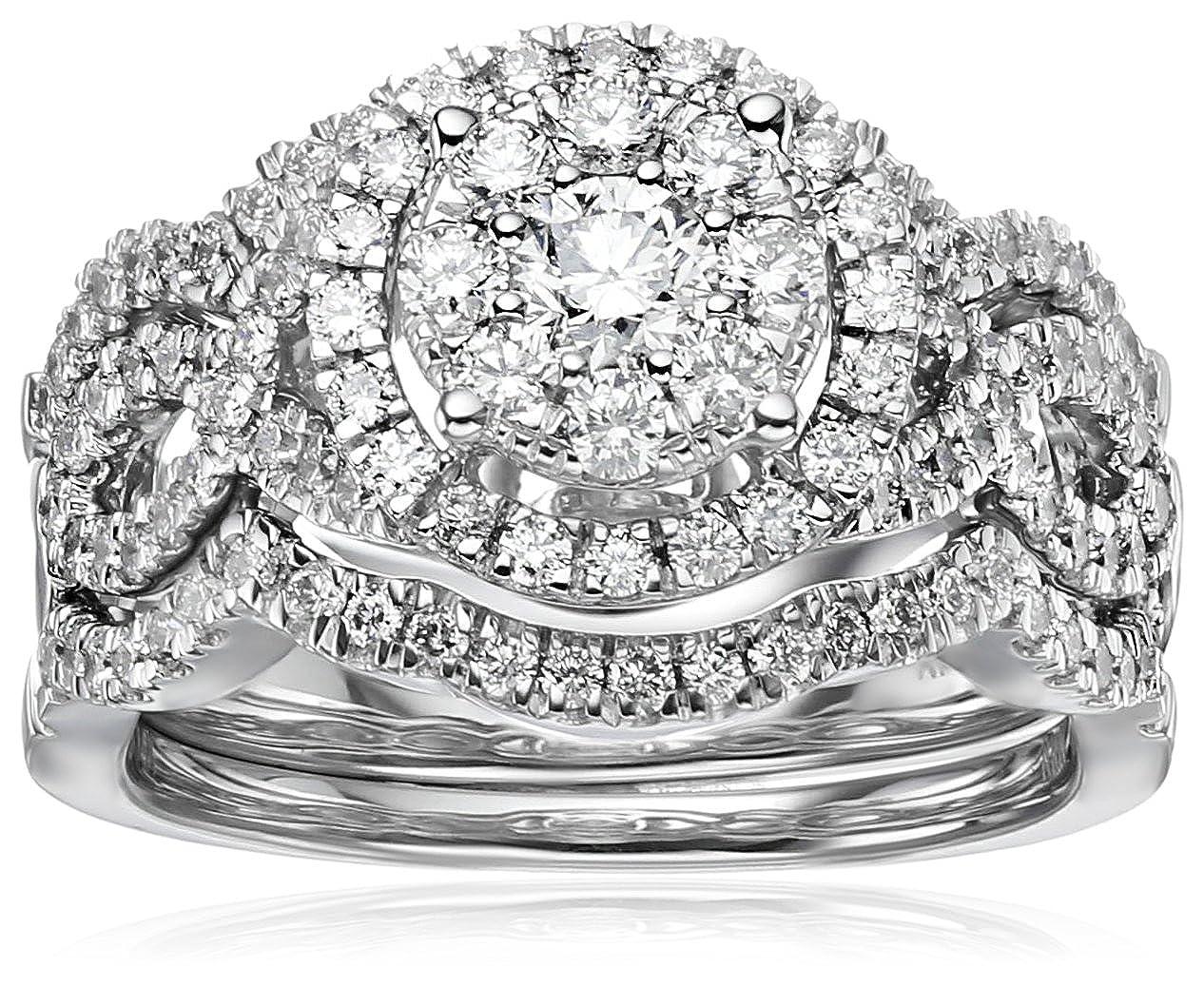 14k White Gold Diamond 3 Piece Wedding Ring Set 1 1 4 Cttw Hi Color I1 I2 Clarity Size 7