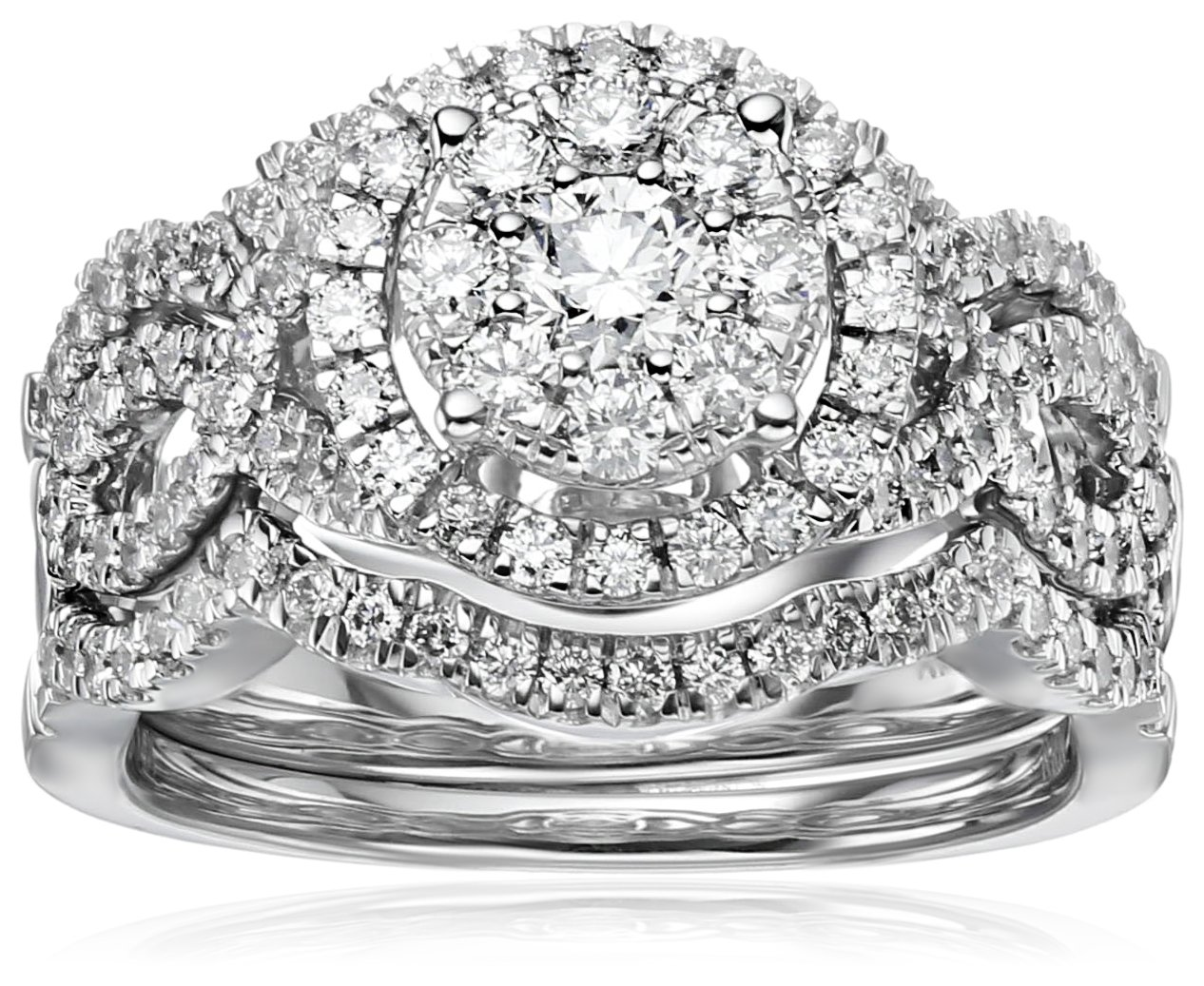 14k White Gold Diamond 3-Piece Wedding Ring Set (1 1/4 cttw, H-I Color, I1-I2 Clarity), Size 7