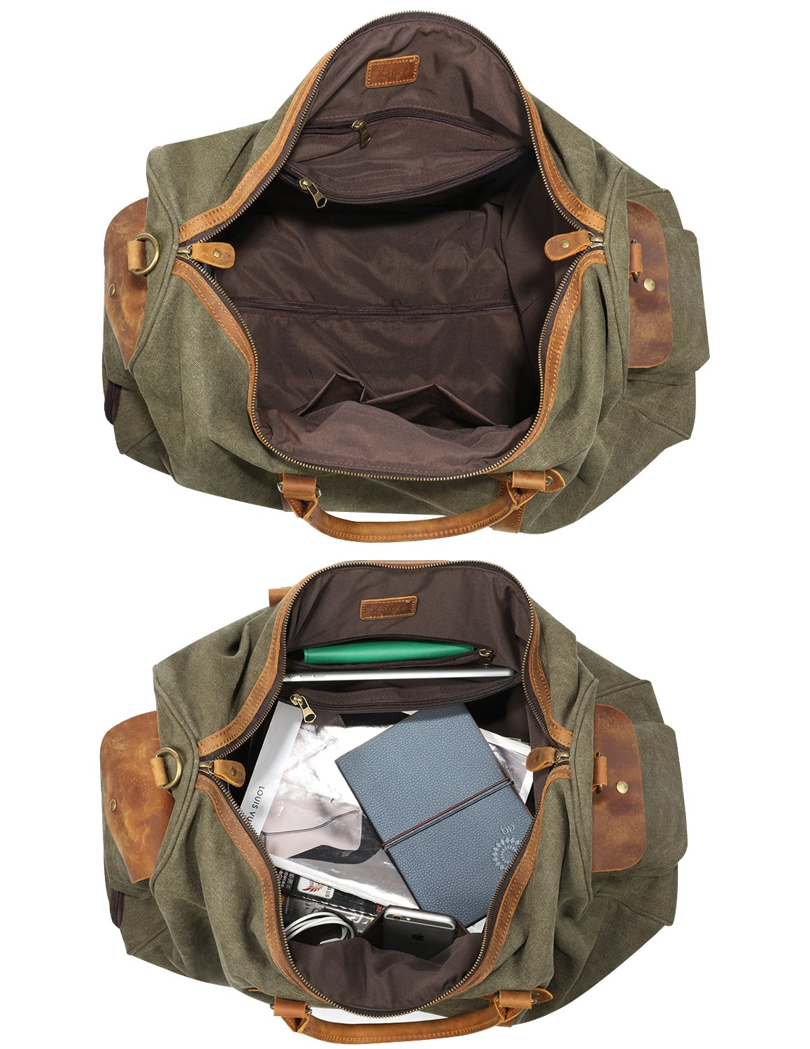 Kattee Rolling Duffle Bag with Wheels Canvas Travel Luggage Duffel Bag 50L (Army Green) by Kattee (Image #6)